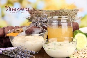 Lavender, honey, cucumber, and oats are known to be soothing and calming.