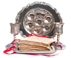 Haroset plate and matzah, for traditional Passover seder