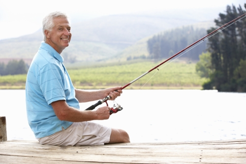 Older man fishing