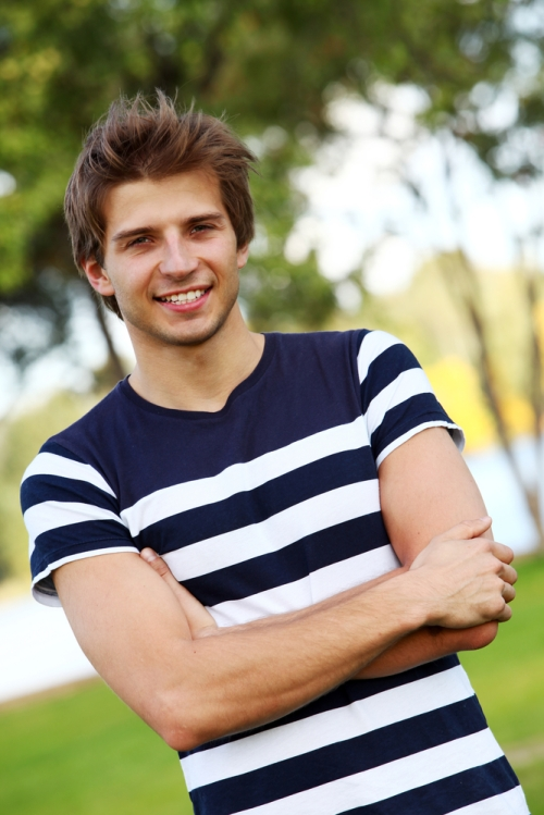 Young man in striped shirt