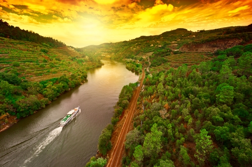 Boat speeding down River Douro surrounded by valley of vineyards