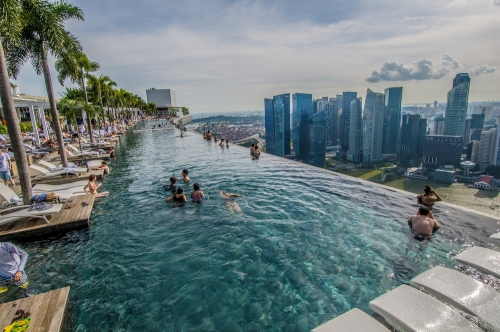 Marina Sands Hotel view from the pool of downtown Singapore