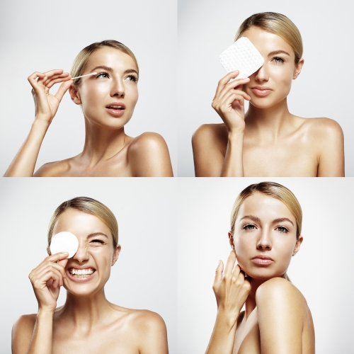 4 panels showing woman going through skin care routine