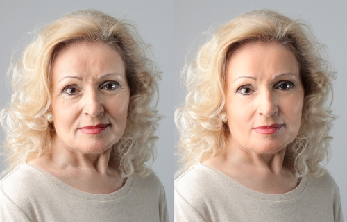 Side-by-side aging portraits