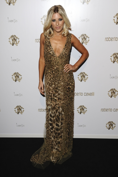 Mollie King in a Roberto Cavalli animal print gown