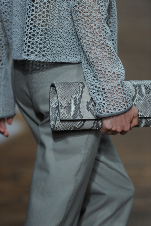 Runway model with a snake skin clutch