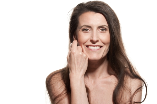 Menopausal woman after hair removal