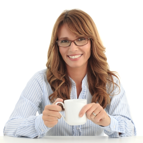 Menopausal woman drinking soy milk for her health