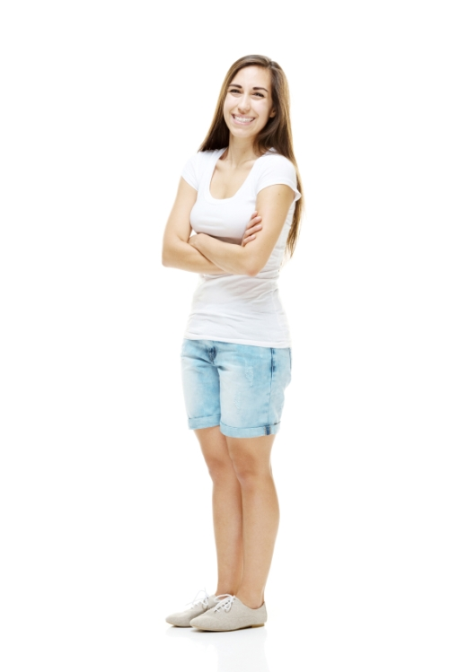 Woman wearing longer shorts