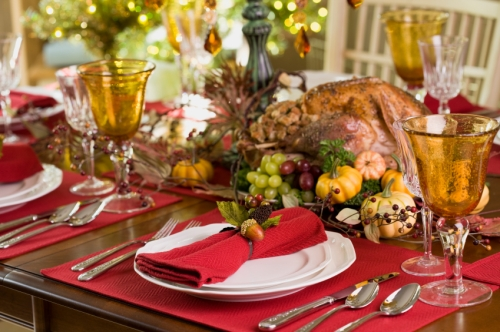 Thanksgiving holiday tablescape with big turkey
