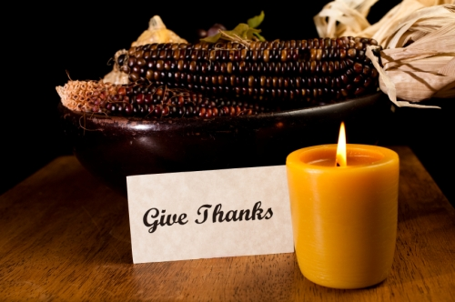 Thanksgiving decor with give thanks sign