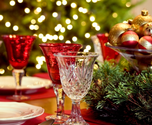 Holiday table set with beautiful decorative holiday touches