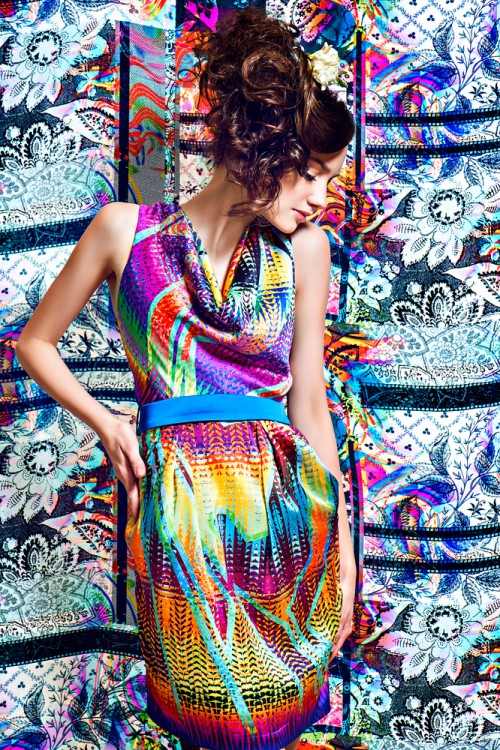Woman in a fashionable multi-colored dress.