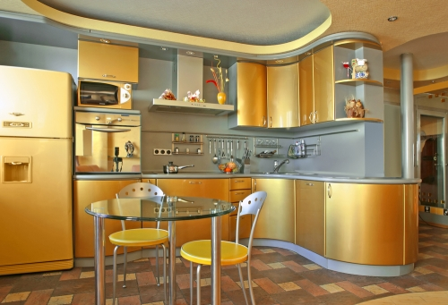 Orange and gold colored kitchen