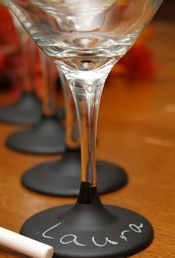 Personalized wine glasses for party guests.