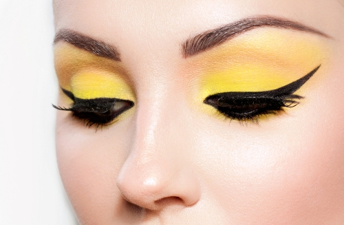 Woman with a cat eye look.