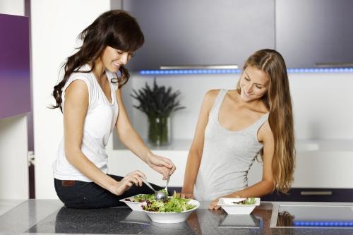 Women having a healthy snack.