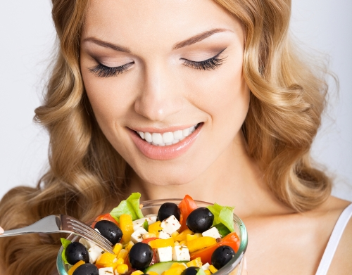Woman having healthy food.
