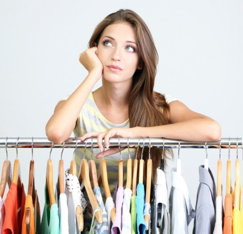 Woman thinking what to wear