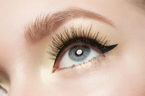 Classic winged eyeliner.