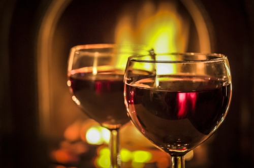 Red wine by the fire.