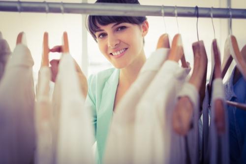 Looking through a well organized wardrobe