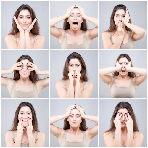 various face yoga poses