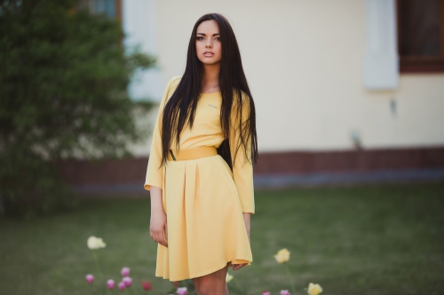 Buttercup yellow colored dress