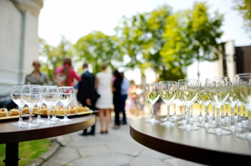 Wine glasses in an event