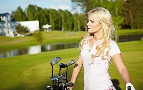 Woman wearing a golf top