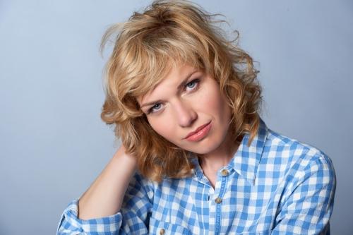 Woman wearing a gingham shirt