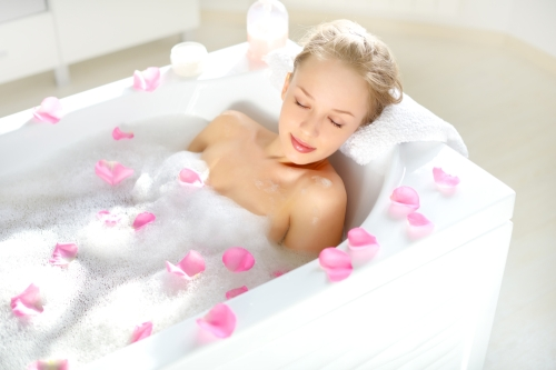 Woman enjoying a bath
