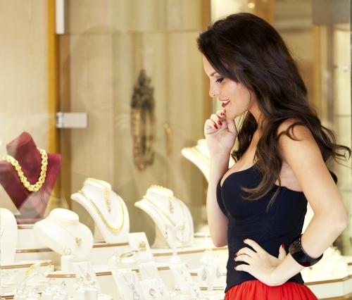 Woman buying jewelry