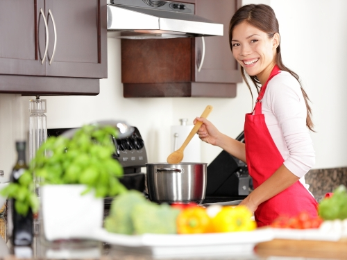 Young women cooking at home.