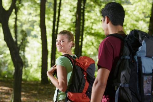 Girlfriend and boyfriend hiking