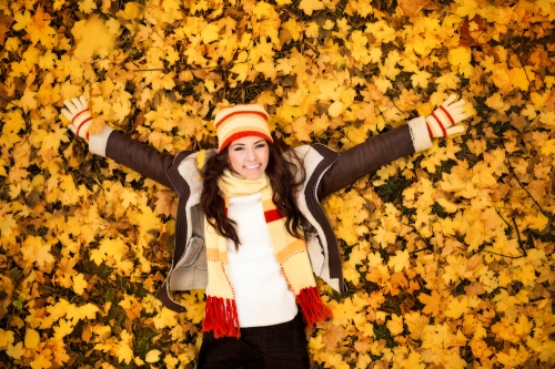 fall fashion with leaves background