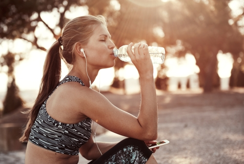 Woman staying hydrated