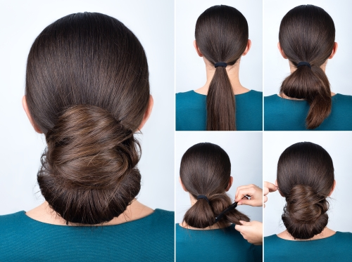 Woman with chignon tutorial