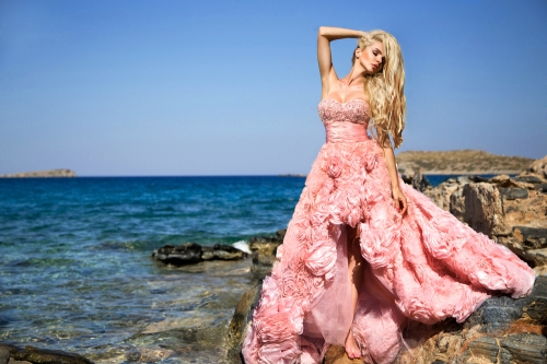 Woman in ruffled dress