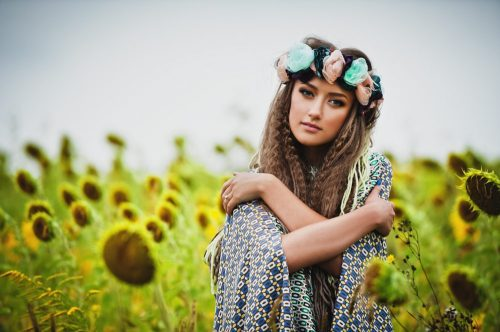 woman with floral crown