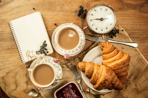 tea, croissant and clock