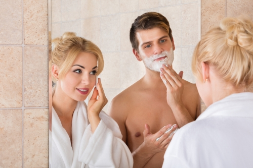 Couple cleansing together