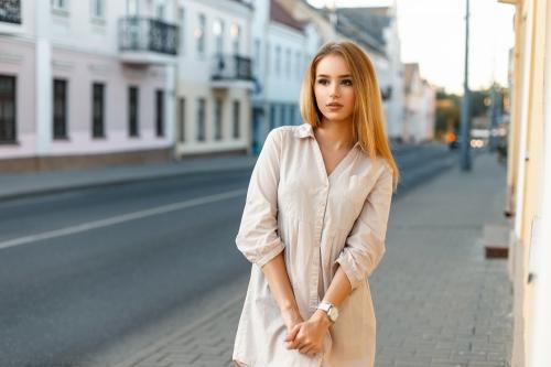Woman in shirt dress