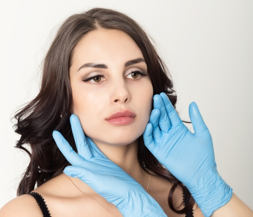 Dermatologist checking skin