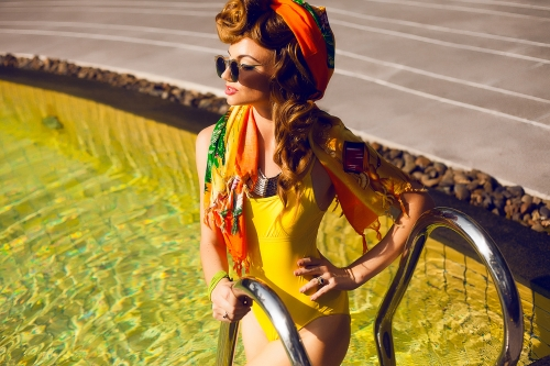 Woman in retro swimsuit
