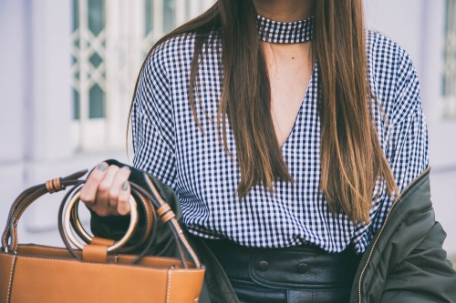 Woman in gingham top