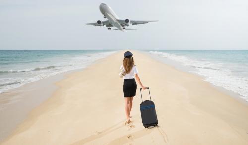 Airhostess chasing airplane